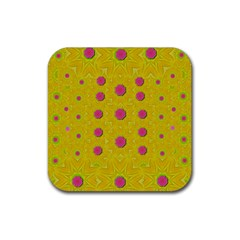 Bloom On In  The Sunshine Decorative Rubber Square Coaster (4 Pack)  by pepitasart