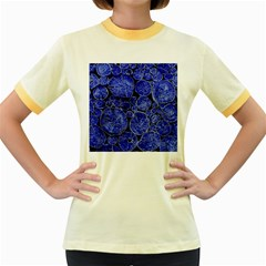 Neon Abstract Cobalt Blue Wood Women s Fitted Ringer T Shirt