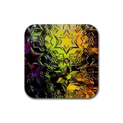 Background Star Abstract Colorful Rubber Coaster (square)  by HermanTelo