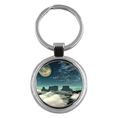 Lunar Landscape Space Mountains Key Chain (round) by Simbadda