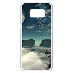 Lunar Landscape Space Mountains Samsung Galaxy S8 White Seamless Case by Simbadda