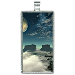 Lunar Landscape Space Mountains Rectangle Necklace by Simbadda