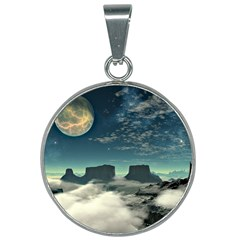 Lunar Landscape Space Mountains 25mm Round Necklace by Simbadda