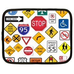 Street Signs Stop Highway Sign Netbook Case (xl) by Simbadda