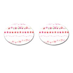 Sakura Border Cherry Blossom Cufflinks (oval)