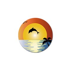 Ocean Sunset Dolphin Palm Tree Golf Ball Marker (10 Pack) by Simbadda