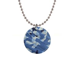 Tarn Blue Pattern Camouflage 1  Button Necklace