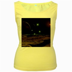 Lunar Landscape Star Brown Dwarf Women s Yellow Tank Top by Simbadda