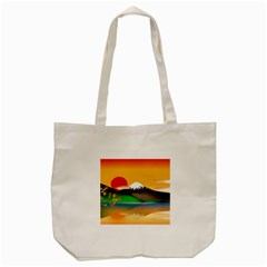 Mount Fuji Japan Lake Sun Sunset Tote Bag (cream) by Simbadda