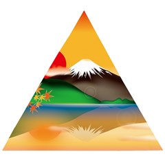 Mount Fuji Japan Lake Sun Sunset Wooden Puzzle Triangle