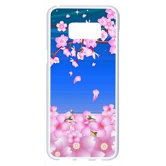 Sakura Cherry Blossom Night Moon Samsung Galaxy S8 Plus White Seamless Case by Simbadda
