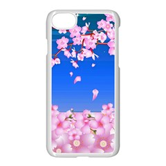 Sakura Cherry Blossom Night Moon Iphone 8 Seamless Case (white) by Simbadda