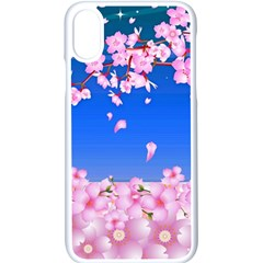 Sakura Cherry Blossom Night Moon Iphone Xs Seamless Case (white) by Simbadda