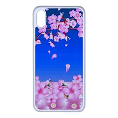 Sakura Cherry Blossom Night Moon Iphone Xs Max Seamless Case (white) by Simbadda