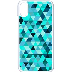 Teal Triangles Pattern Iphone Xs Seamless Case (white) by LoolyElzayat