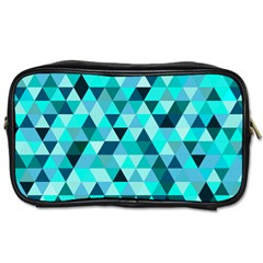 Teal Triangles Pattern Toiletries Bag (two Sides) by LoolyElzayat
