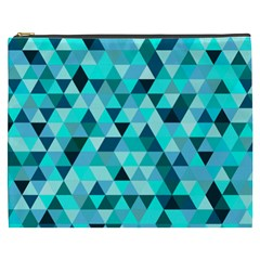 Teal Triangles Pattern Cosmetic Bag (xxxl) by LoolyElzayat
