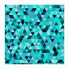 Teal Triangles Pattern Medium Glasses Cloth (2 Sides) by LoolyElzayat