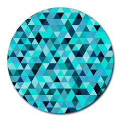 Teal Triangles Pattern Round Mousepads by LoolyElzayat