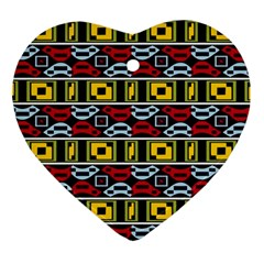 Rectangles And Other Shapes Pattern                                    Ornament (heart) by LalyLauraFLM