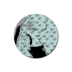 Wide Eyed Girl Rubber Round Coaster (4 Pack)