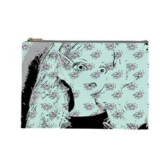 Wide Eyed Girl Cosmetic Bag (large)