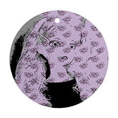 Wide Eyed Girl Lilac Round Ornament (two Sides)
