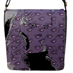 Wide Eyed Girl Grey Lilac Flap Closure Messenger Bag (s) by snowwhitegirl