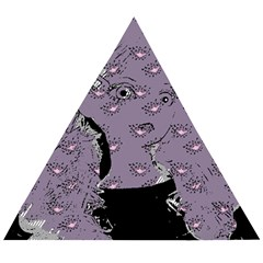 Wide Eyed Girl Grey Lilac Wooden Puzzle Triangle by snowwhitegirl