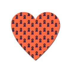 Nerdy 60s  Girl Pattern Orange Heart Magnet by snowwhitegirl