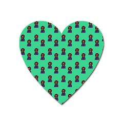 Nerdy 60s  Girl Pattern Seafoam Green Heart Magnet by snowwhitegirl