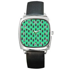 Nerdy 60s  Girl Pattern Seafoam Green Square Metal Watch by snowwhitegirl