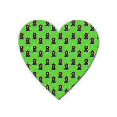 Nerdy 60s  Girl Pattern Green Heart Magnet by snowwhitegirl