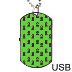 Nerdy 60s  Girl Pattern Green Dog Tag Usb Flash (two Sides)