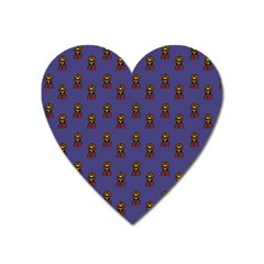 Nerdy 60s  Girl Pattern Dark Purple Heart Magnet by snowwhitegirl