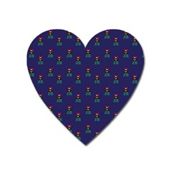 Nerdy 60s  Girl Pattern Blue Heart Magnet by snowwhitegirl