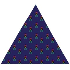 Nerdy 60s  Girl Pattern Blue Wooden Puzzle Triangle