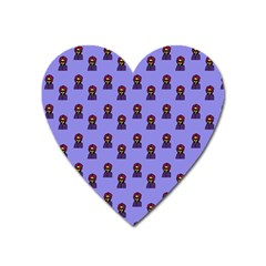 Nerdy 60s  Girl Pattern Purple Heart Magnet by snowwhitegirl