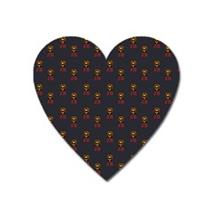 Nerdy 60s  Girl Pattern Grey Heart Magnet by snowwhitegirl