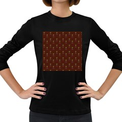 Nerdy 60s  Girl Pattern Red Women s Long Sleeve Dark T-shirt by snowwhitegirl