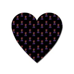 Nerdy 60s  Girl Pattern Black Heart Magnet by snowwhitegirl