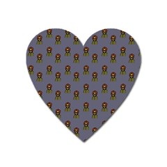 Nerdy 60s  Girl Pattern Light Grey Heart Magnet by snowwhitegirl