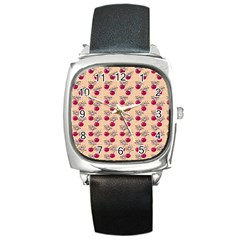 Cherries An Bats Peach Square Metal Watch