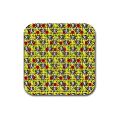 Heart Skeleton Face Pattern Yellow Rubber Coaster (square)
