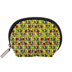 Heart Skeleton Face Pattern Yellow Accessory Pouch (small) by snowwhitegirl
