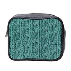 Knitted Wool Blue Mini Toiletries Bag (two Sides)