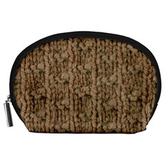 Knitted Wool Brown Accessory Pouch (large)