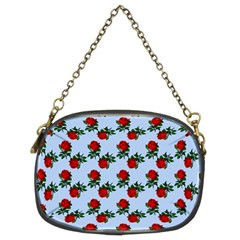 Red Roses Light Blue Chain Purse (two Sides)
