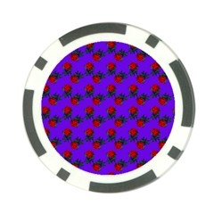 Red Roses Blue Purple Poker Chip Card Guard