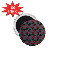 Red Roses Grey 1 75  Magnets (100 Pack)